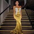 2017 Sexy Cuentas de Oro Vestido de Noche Largo Apliques Tafetán Mermiad Piso-Longitud Abendkleider vestidos de Fiesta Robe De Soirée