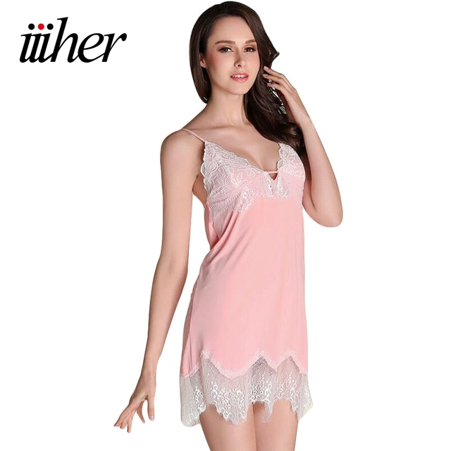 iiiher Women Lace Night Dress Sexy Special Spaghetti Strap Nightgown Faux  Silk Women Sleepwear Lounge Night 273b75721