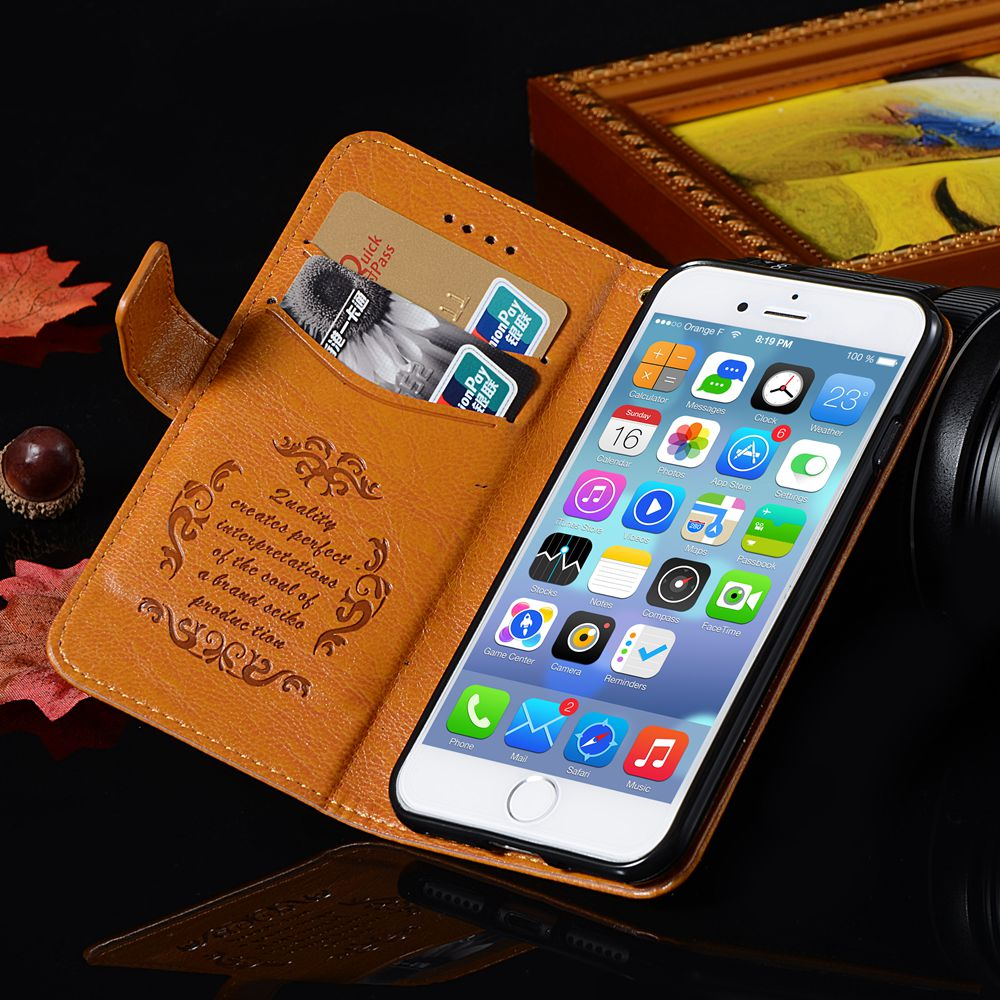 For iPhone 7 Case Luxury Wallet Genuine Leather Flip Case For Apple iPhone 7 Plus Cover Stand Coque For iPhone 7 Holster Case