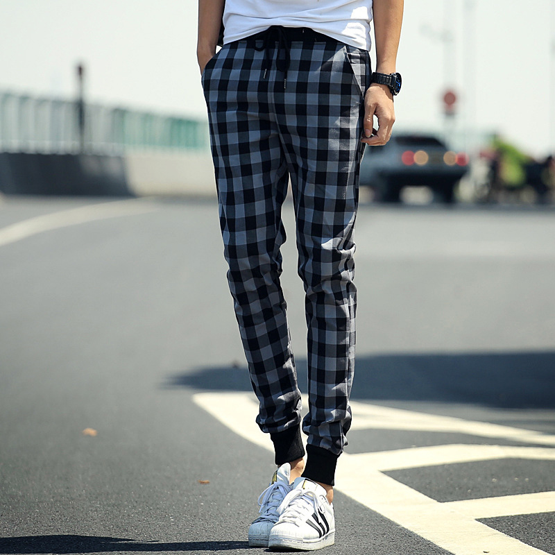 42ffa836042ef4 New 2015 Mens Checked Joggers Fashion Harem Pants Trousers Slim Fit  Sweatpants Men for Jogging Dance sport pants M~XXL