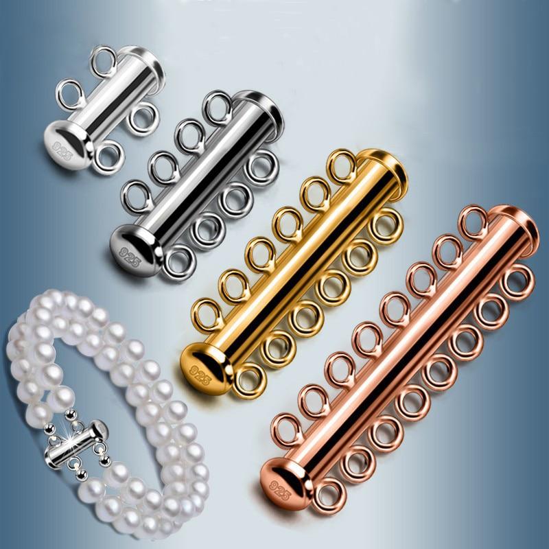10 pcs/lot 925 argent Sterling glisser Tube fermoir multicouche boucle pour bracelet à bricoler soi-même collier connecteur bijoux faisant accessoire