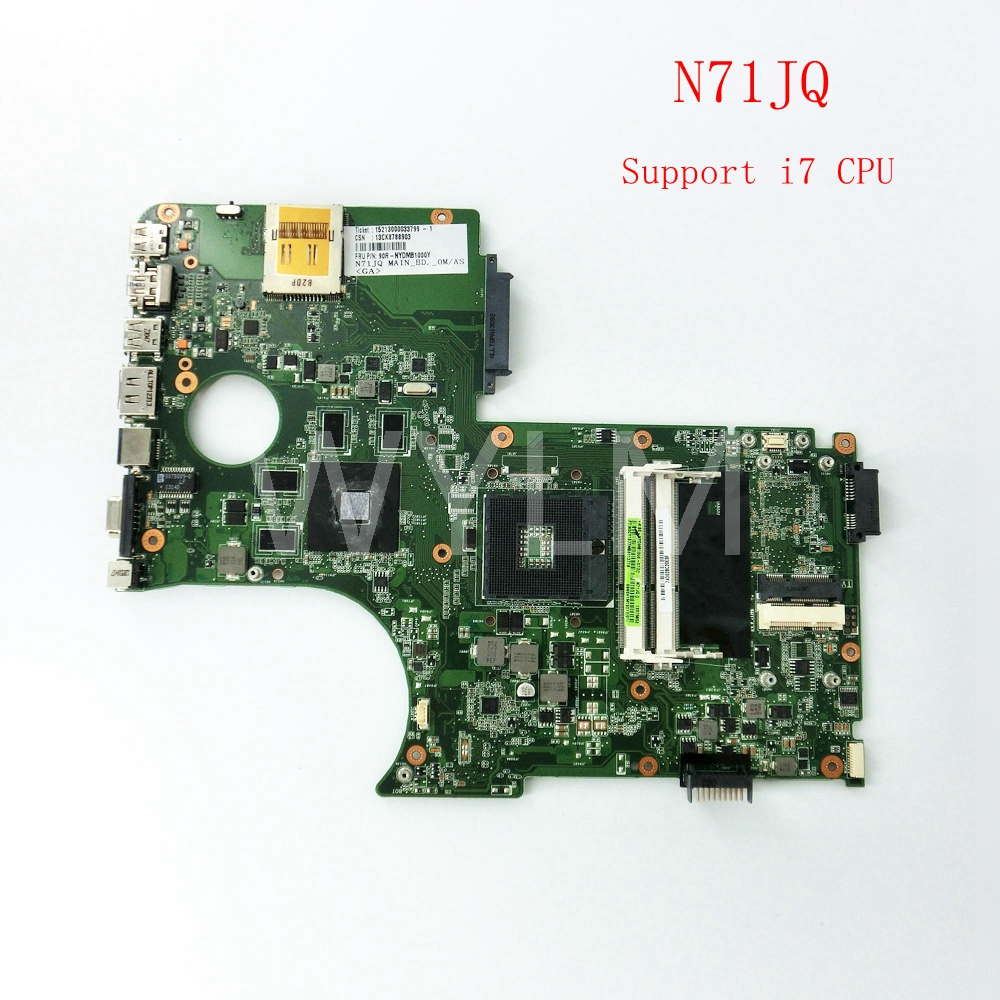 FREE SHIPPING N71JQ Support i7CPU mainboard For ASUS N71J N71JQ Laptop motherboard MAINBOARD 60-N6DMB1000-D12 100%Tested Working free shipping k42dr mainboard rev2 3 for asus a42d k42d k42dy k42dr laptop motherboard tested working