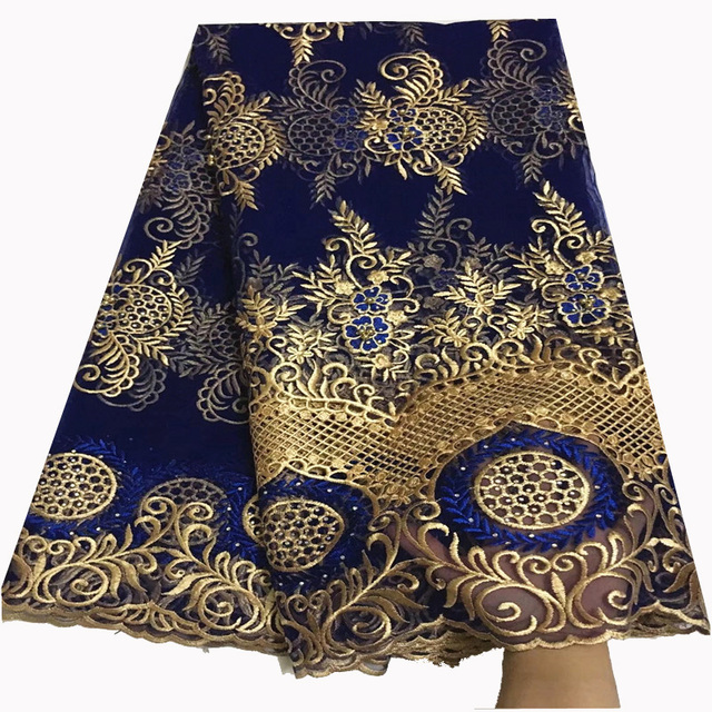 Hot sale beautiful embroidered royal blue french lace fabric with beads nigeria tulle lace for wedding dress QZ9-1