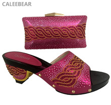 African Matching Shoe And Bag Set Sets Fuschia Color Women Shoes In