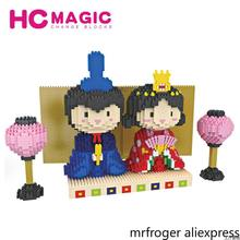 HC MAGIC 1002 Japan Kimono Doll DIY Mini Diamond Bausteine Nano Blocks Birthday Gift Figures DIY Toys Building Blocks Assembly(China)