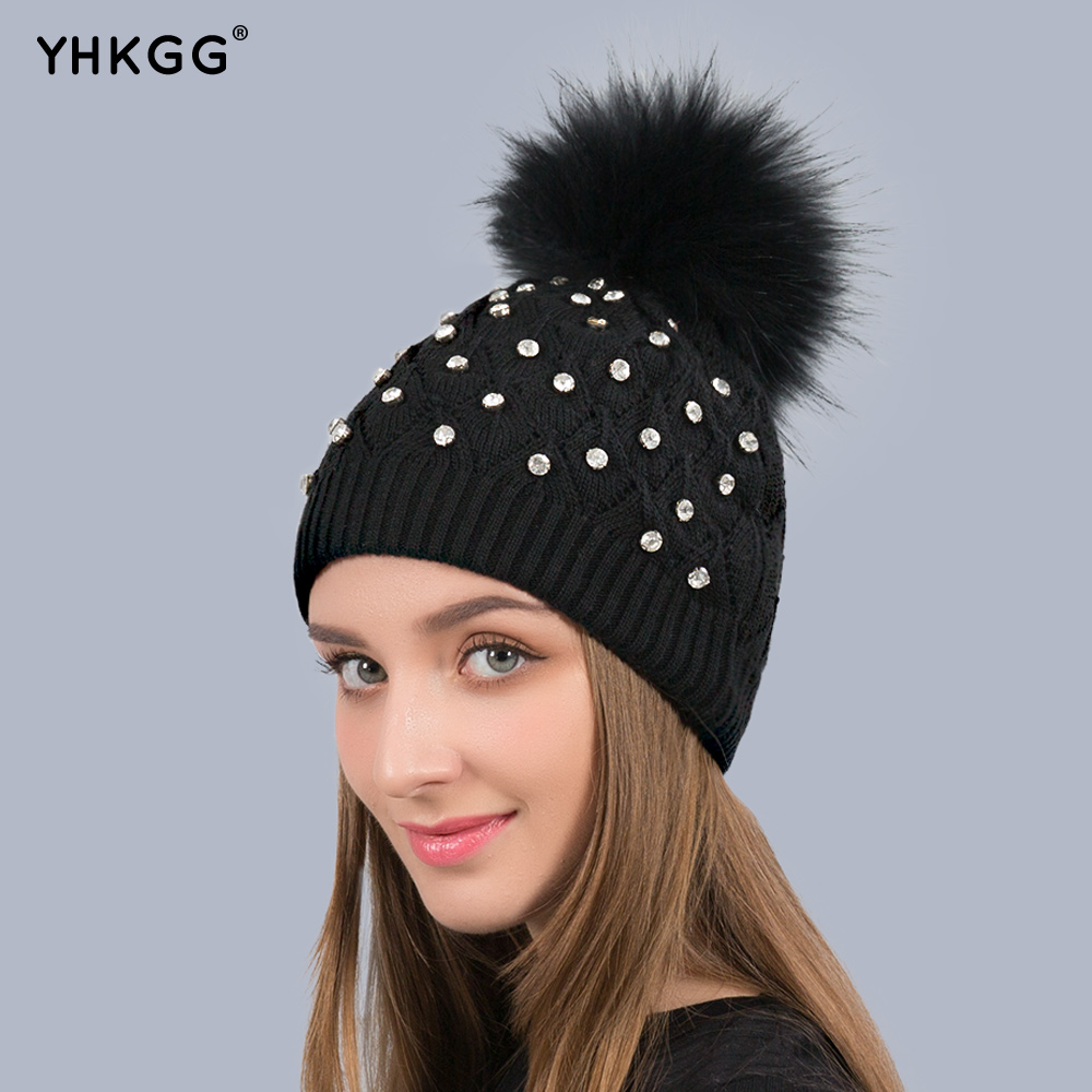 YHKGG New Raccoon Fur Hat For Women Winter Knitted Hats Rhinestones Diamond Elastic thick female double layer cap