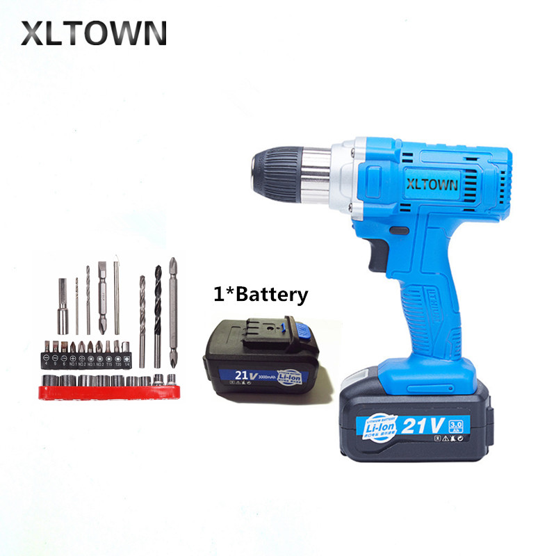цена на Xltown 21v 80NM cordless drill high-capacity rechargeable lithium battery Electric screwdriver Household electric drill bits
