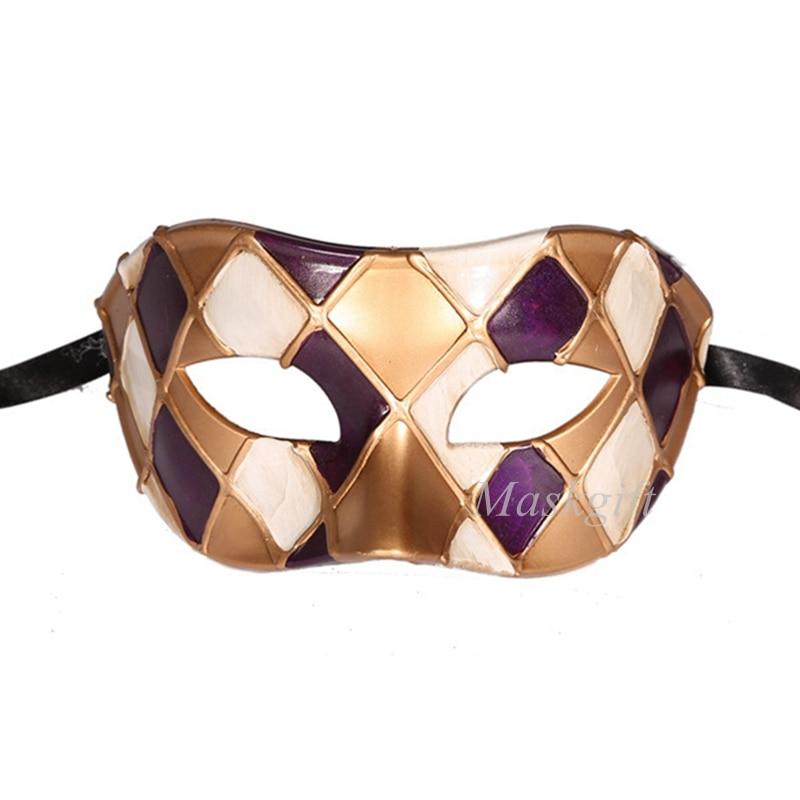 Горячая Арлекин Маскарад Танцевальная вечеринка маска уникальная мужская Венецианская проверенная маска - Цвет: purple gold