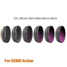מתכוונן באיכות גבוהה עדשת מסנני סט 6 ב 1 MCUV + CPL + ND4 + ND8 + ND16 + ND32 עבור DJI אוסמו פעולה ספורט מצלמה אבזרים
