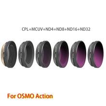 조정 가능한 고품질 렌즈 필터 세트 6 in 1 MCUV + CPL + ND4 + ND8 + ND16 + ND32 for DJI OSMO 액션 스포츠 카메라 액세서리