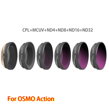 Adjustable High Quality Lens Filters Set 6 in 1 MCUV+CPL+ND4+ND8+ND16+ND32 for DJI OSMO Action Sports Camera Accessories