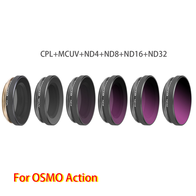 Verstelbare Hoge Kwaliteit Lens Filters Set 6 In 1 Mcuv + Cpl + ND4 + ND8 + ND16 + ND32 voor Dji Osmo Action Sport Camera Accessoires