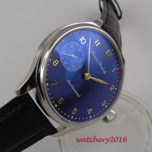 44mm Parnis Blue dial 17 jewels 6497 movement Hand Wind Mechanical Men's Watch цены