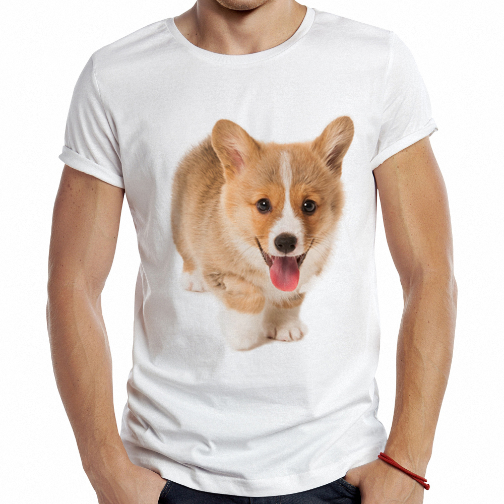 T-shirts Beautiful Summer Graphic T Shirt Men Tops Tees Corgi Printed Women Funny T-shirt Short Sleeve Casual Tshirts Tops & Tees