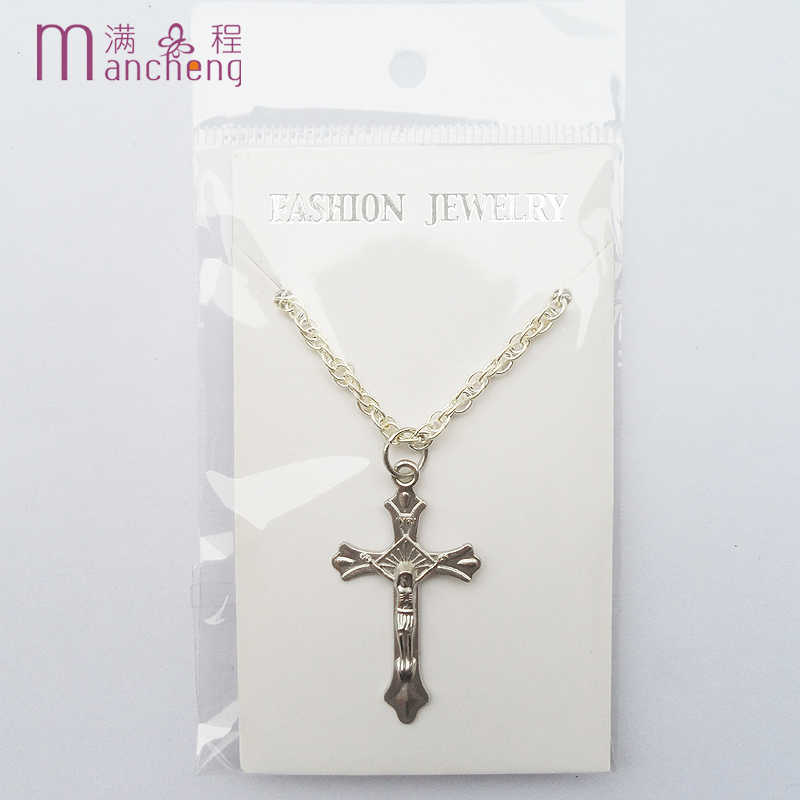 DIY Best selling religion Prayer bead necklace,gray pearl Silver religion cross Chains necklace,female cross statement necklace