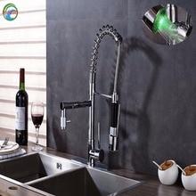 Двойной Носик Кухонная мойка кран Палуба Гора функциональные Весна кухонный смеситель горячей и холодной воды свет chrome отделка