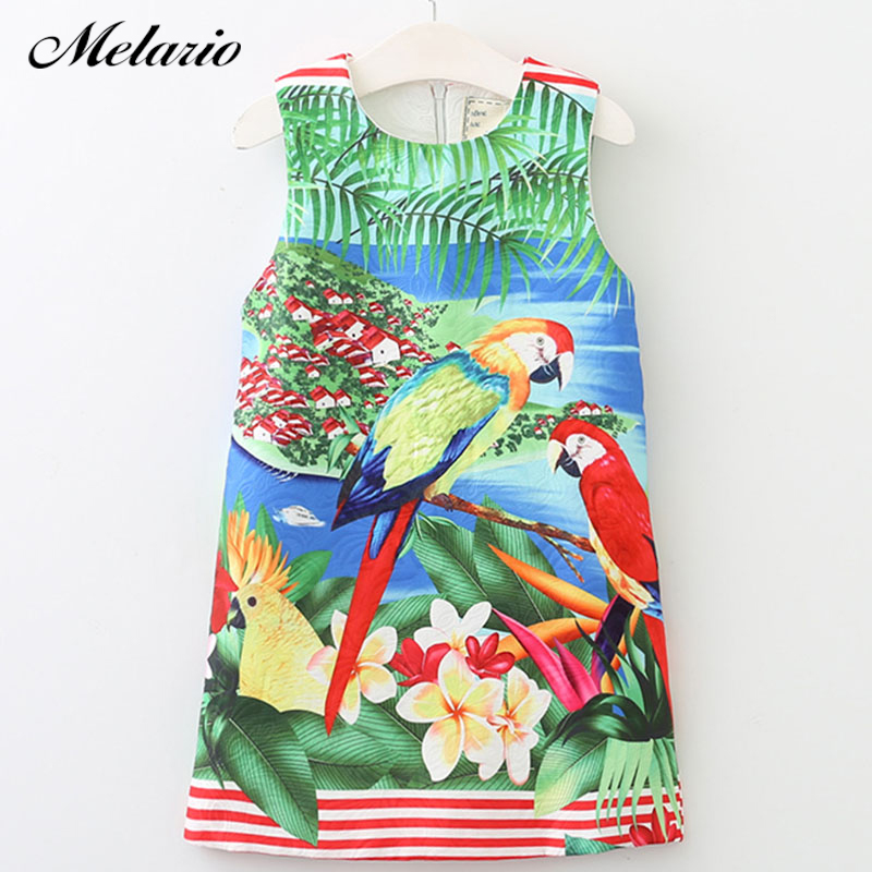 Melario Girls Dress 2017 Brand Sleeveless Kids Dress European and American Style Cartoon Landscape Painting Children Clothes 100% real photo brand kids red heart sleeve dress american and european style hollow girls clothes baby girl clothes