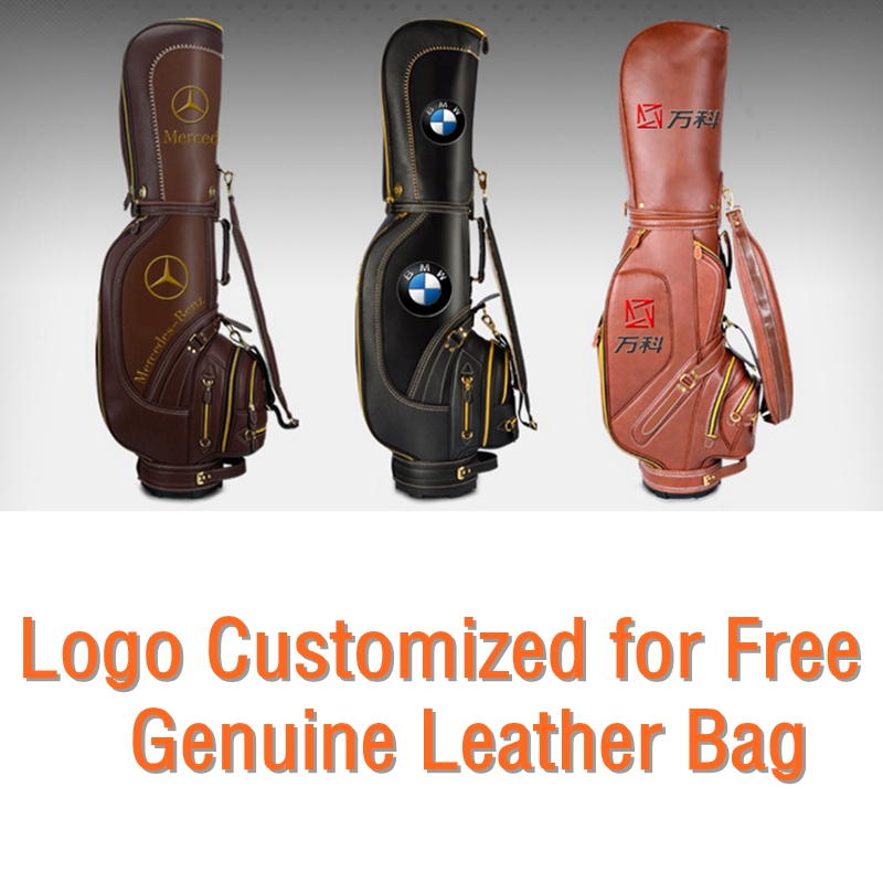 цена на brand PGM Golf stand caddy golf cart bag staff golf bags golf genuine real leather clubs bag. The logo can customized for free