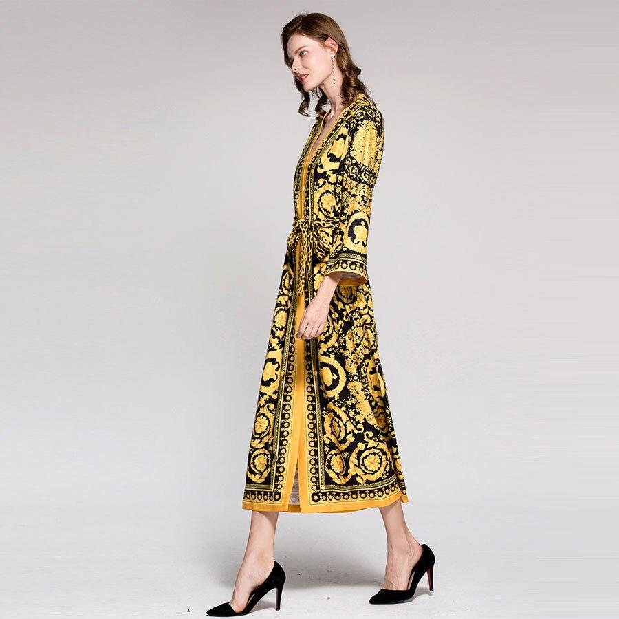 Cou Vintage Plein Ethnique Ceinture Manches Robe Longue Léopard Imprimé Musulman Printemps Mode 2018 V Mince Lâche Piste fPrw0f