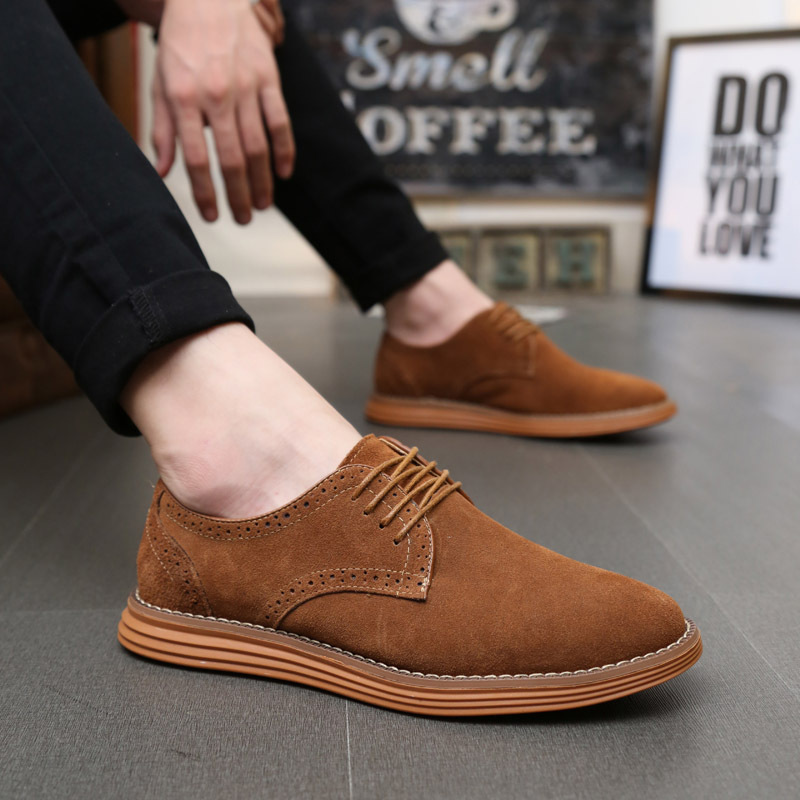 Big Size 38-47 2019 New Men Shose Fashion   Suede     Leather   Casual Shoes Low Lace-up Men's Flat Shoes Zapatos Hombre Black Brown