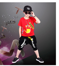 hot deal buy hot casual cotton summer short sleeve t-shirt and pants sets kids boys clothing sets children boys clothes suits 5-12y