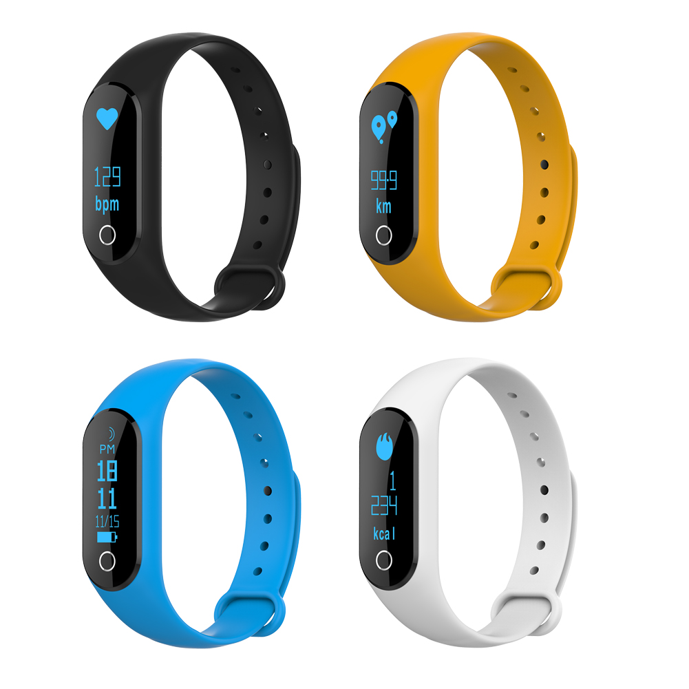1 Pc Heart Rate Bluetooth Smart Band Wristband Bracelet 0 86in OLED For Andorid 4 4
