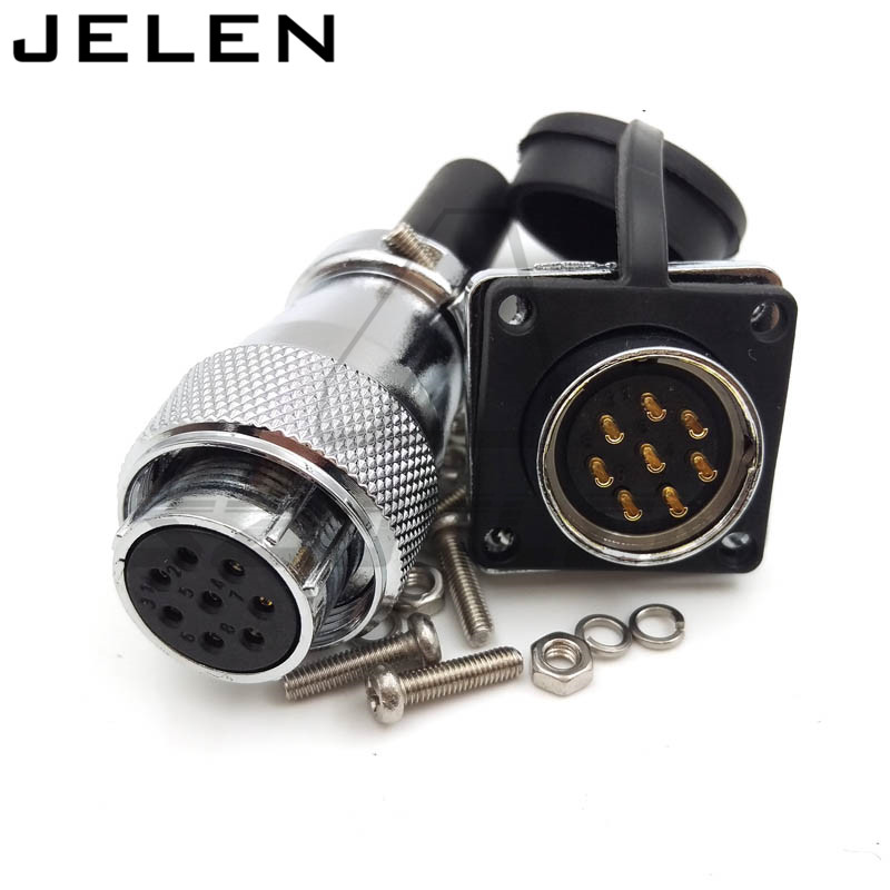 WS20, panel mount connector 8pin plug socket, Rated current 25A, Automotive electronic plugs and sockets, aviation connector