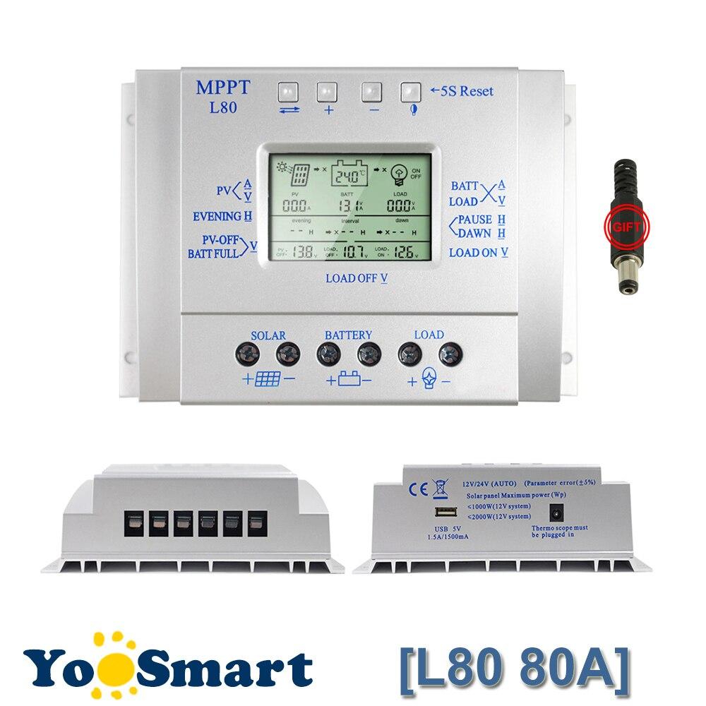 Contrôleur de Charge de batterie solaire LCD 80A 12 V/24 V contrôleur de système de suivi solaire avec minuterie et contrôle de la lumière sortie USB 1.5A5V