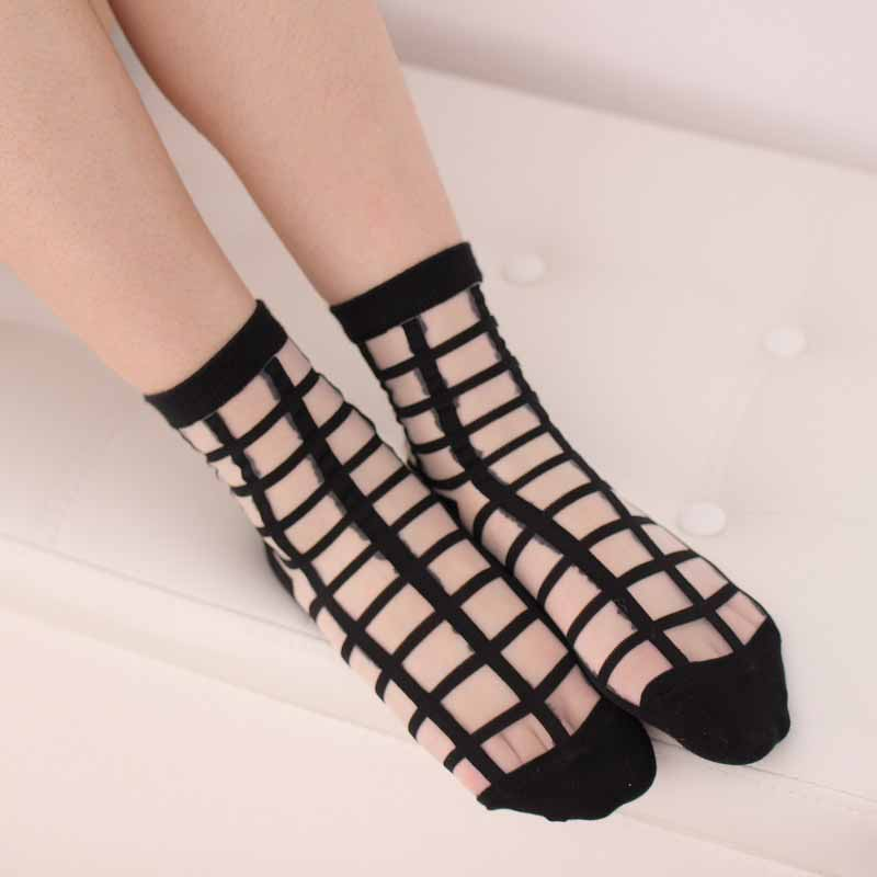 Brand New Summer Transparent Crystal Wire Short Sock Women Ultrathin Square Lattice Nylon Short Socks Breathable Hosiery