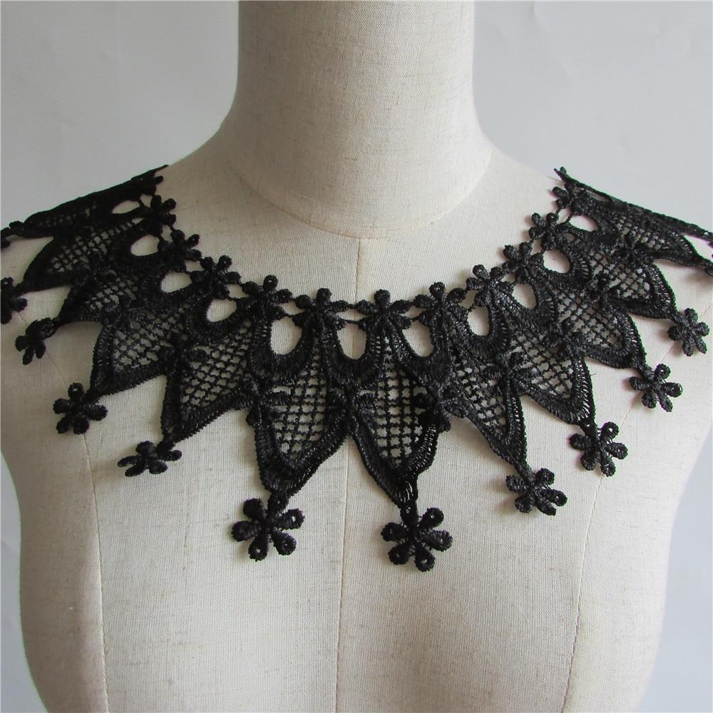 b379e2274c55 Negro bordado Encaje cuello escote Venise applique Bordado Costura en  Parches Costura Telas Accesorios yl137