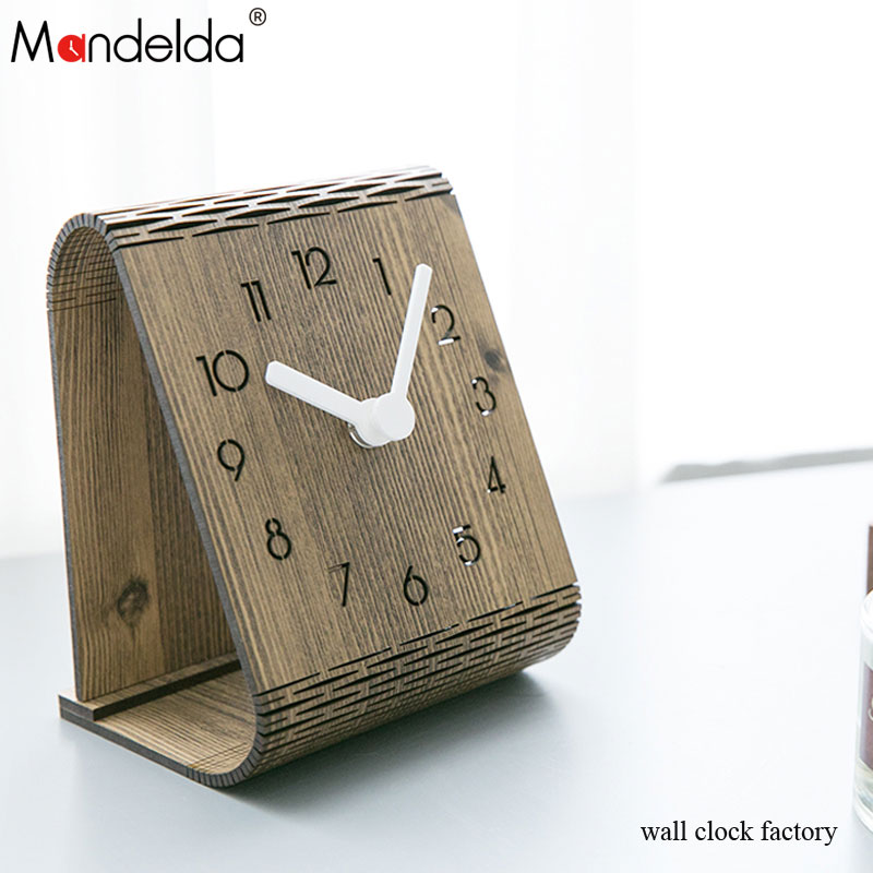 Mandelda High Quality Handmade European-style Quartz Home Decor Large Wooden Wall Clock Gear Table for Sale