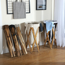 Storage Baskets Wooden-Frame Bedroom Foldable Organization Waterproof Home Multi-Function