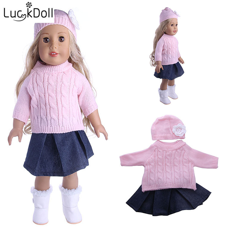 LUCKDOLL Handmade Hat +Scarf+Dress  Fit 18Inch American 43cmBabyDoll Clothes Accessories,Girls Toys,Generation,Birthday Gift
