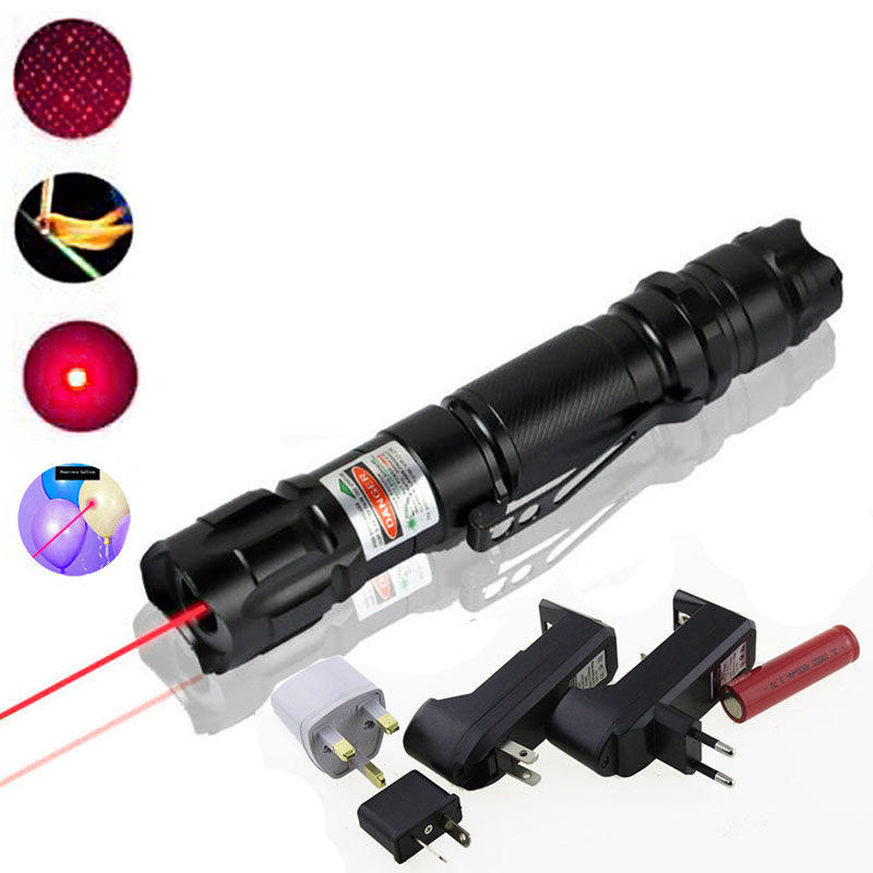 High Power Portable 5mW Red Laser Pointer 532nm Lazer verde Pen Clip Military Sky Star For 18650 Batteries Charger