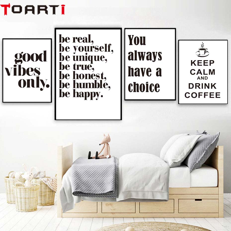 3 Piece Canvas Prints Coffee is Good Black and White Quotes Design Unframed