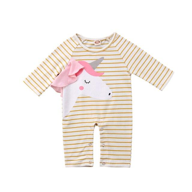 6d6f17f7c Fashion Newborn Romper Unicorn Infant Clothes Baby Girl Long Sleeve ...