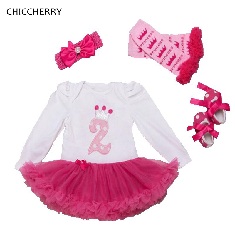 2 Years Birthday Dress Headband Leg Warmers Crib Shoes Long Sleeve Girls Birthday Tutu Sets Baby Girl Clothes Infant Clothing