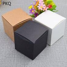 50 шт., коробка для упаковки крафт бумаги, черная/белая/крафт бумага, квадратная коробка для конфет, Подарочная коробка для свадебных торжеств, черная коробка для подарков