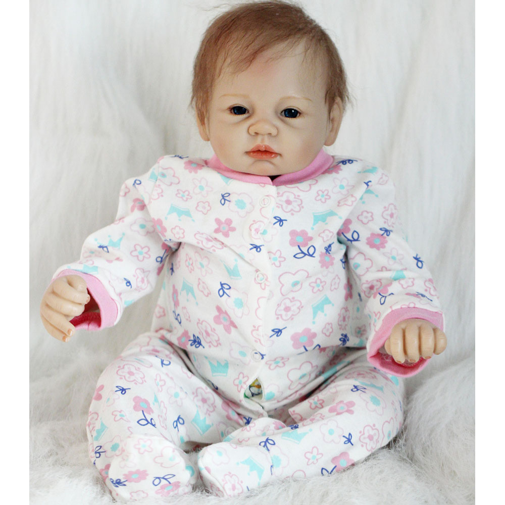 50-55CM Silicone Doll Reborn Baby girl realistic Handmade Cloth Body Reborn Babies Doll Toys Baby Growth Partners Best kids Gift partners cd