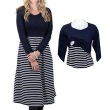 Осеннее Полосатое женское платье для беременных, лоскутное платье для кормящих грудью, вязанное платье для беременных размера плюс