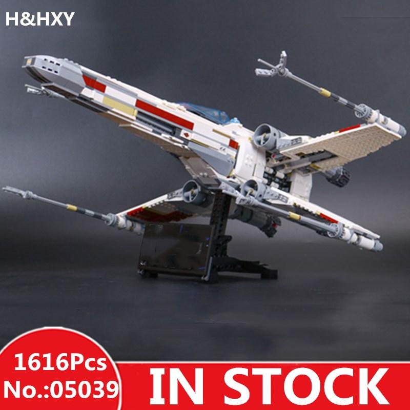 H & HXY 05039 1586 звезды план красный пять X игрушки крыло войны 10240 модель истребителя строительные блоки кирпичи Наборы развивающие подарки
