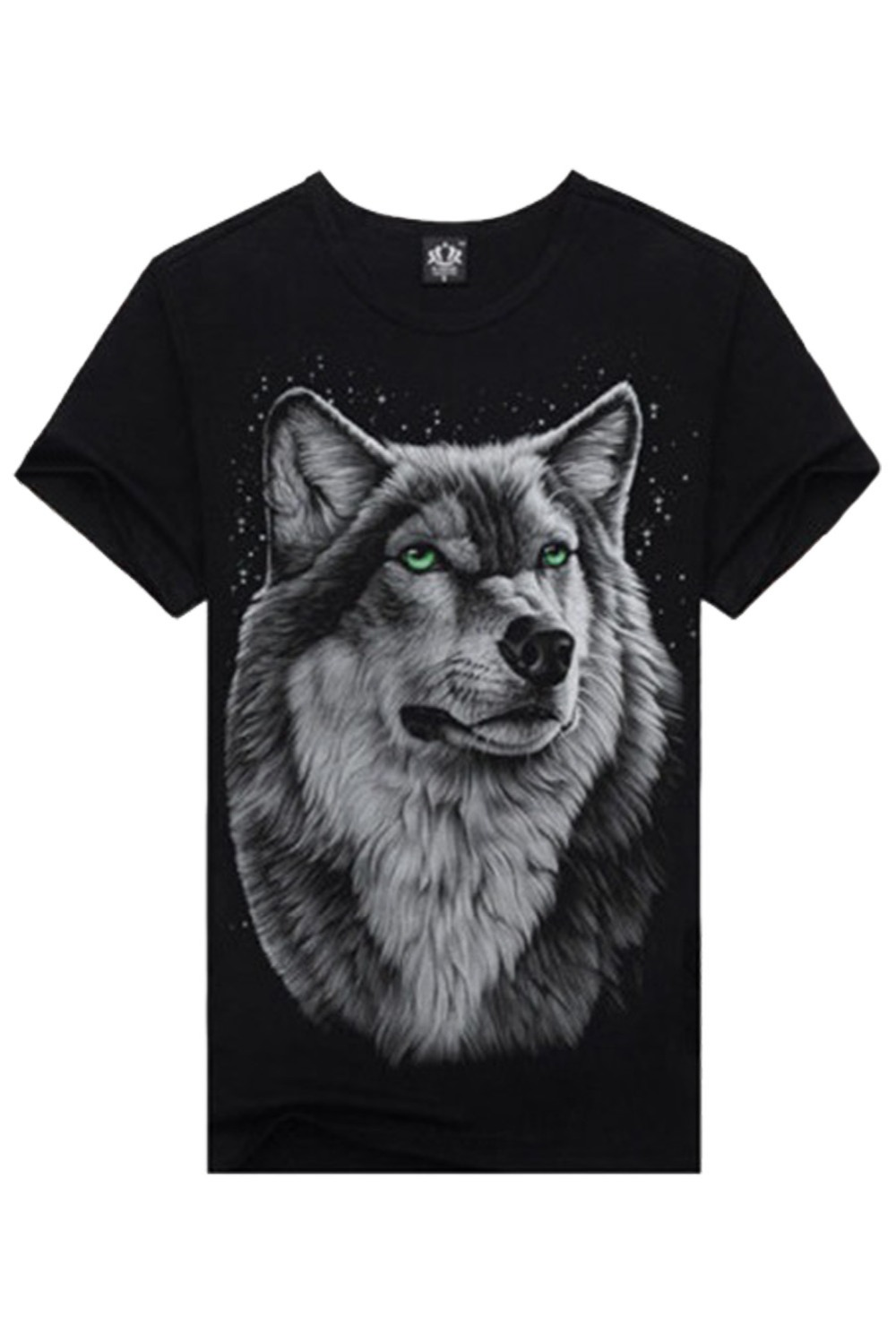 2018 Fashion 3D Digital Print T Shirt Men's Luminous Wolf Head Short Sleeve t-shirt for Men O Neck Europe America Cotton Tshirts