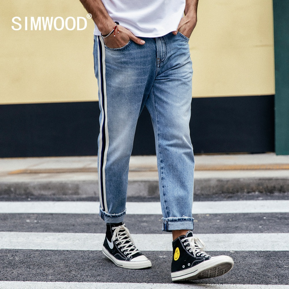 SIMWOOD 2019   Jeans   Men Fashion Track Neon Striped Loose Denim Pants Casual Ankle-Length Plus Size High Quality Clothing 190032