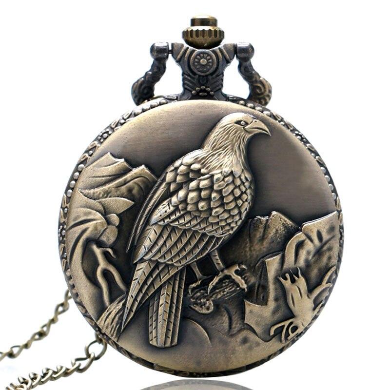 Antique Bronze Fob Pulkstenis Peace Dove Pocket Watch ar kaklarotu - Kabatas pulksteņi