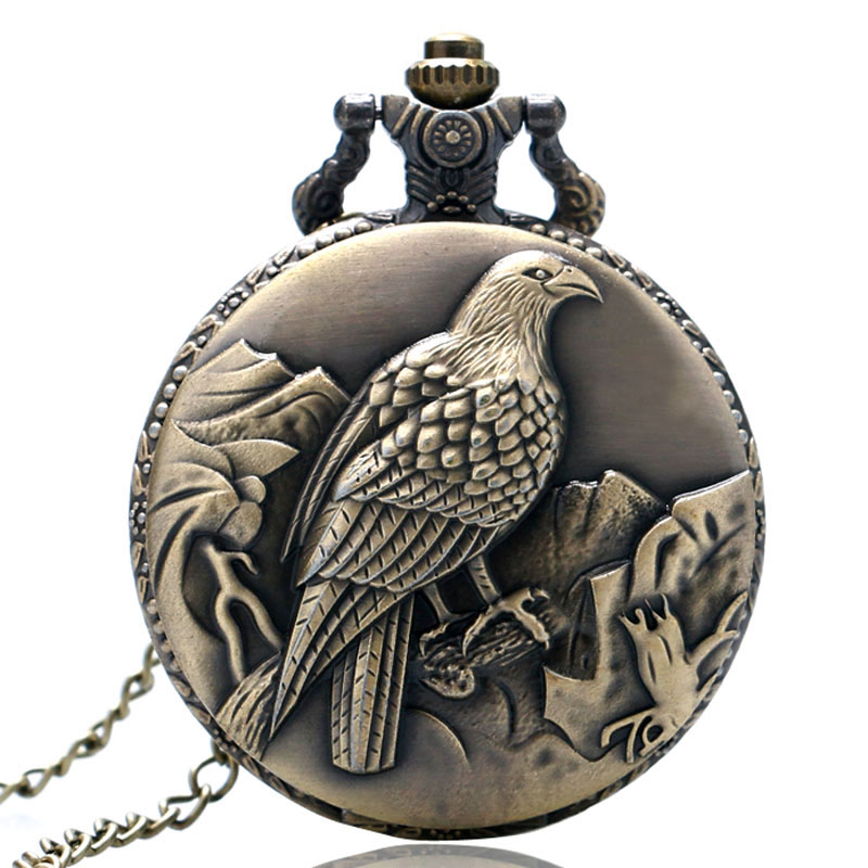 Antique Bronze Fob Pulkstenis Peace Dove Pocket Watch ar kaklarotu - Kabatas pulksteņi