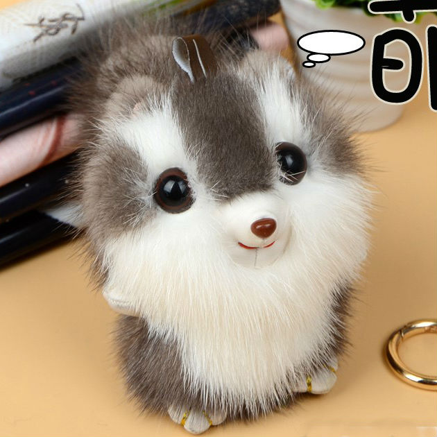 luxury Cute Fluffy Real Genuine Mink Fur Pompom Squirrel Keychain Pom Pom Key Chain Key Ring Women Bag Charm Accessories Pendant цены онлайн