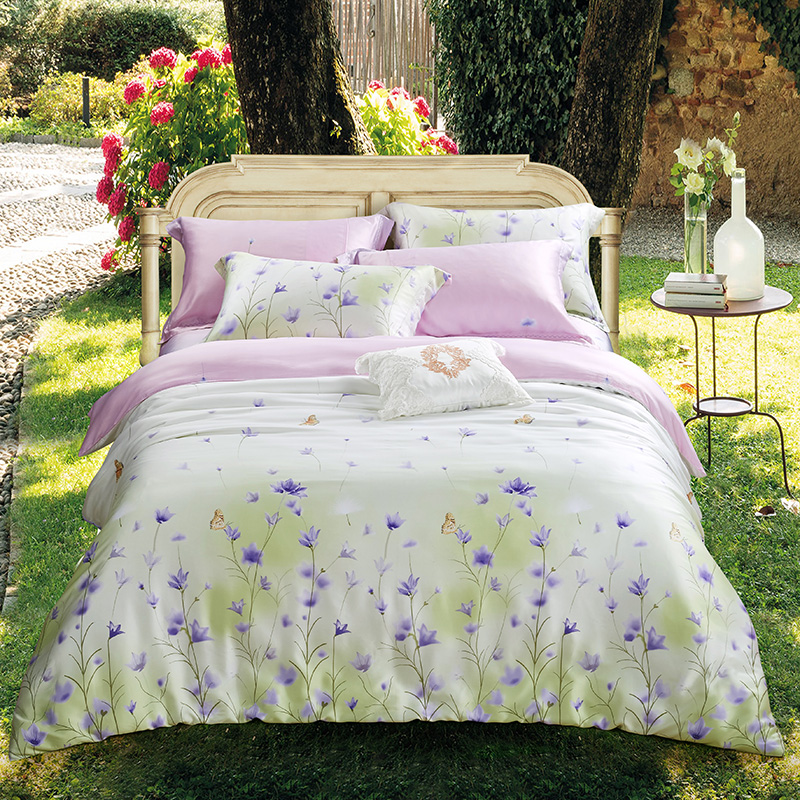 Luxury tencel Boho Bedding sets Bed cover Double Queen/King size Duvet cover set fresh flowers Bed sheet/Fit sheet Pillowcase