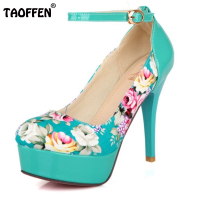 New Fashion Flower Print High Heels Platform Single Shoes Ultra High Heels Patchwork Evening Dress Shoes