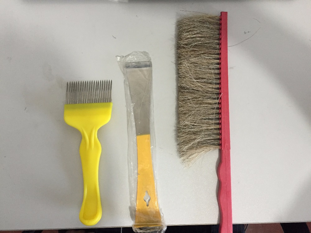 Hive Tool -- 'J ' ,Bee Brush, and Uncapping Fork beekeeping tool