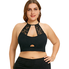 Plus Size 5XL Sexy Lace Crochet Trim Cut Out Camisole Black Halter Crop Top